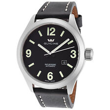 Glycine Men's 3922.19P LB9B Incursore Automatic 44mm Black Dial Black Leather