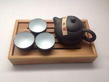 Traveller's Bamboo Gongfu Yixing Clay Tea, 3cups And Mini Tea Tray