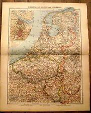 Carte geographique Pays Bas,Belgique,Luxembourg ,1910,
