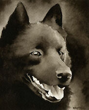 Schipperke Art Print Sepia Watercolor Painting by Artist Djr