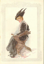 Harrison Fisher Girl, Black Dress & Hat w Feathers, Vintage, Antique Art Print,