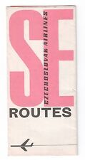 CSA CZECH AIRLINES VINTAGE ROUTE MAP 1968
