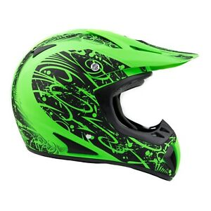 Typhoon Adult Dirt Bike Helmet ATV Off Road ORV Motocross Green DOT Motorcycle