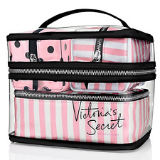 NWT VICTORIA'S SECRET TRAIN CASE COSMETIC MAKEUP BAGS 4 PIECE PINK TRAVEL SET