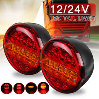 2x 12V/24V LED Tail Rear Round Hamburger Light Indicator Lamp Truck Caravan Van