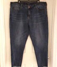 Dear John Womens Jeans Size 20W Stitch Fix Skinny Cropped Blue Denim Frayed Hem
