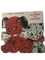 Vintage Hallmark Hall Brothers Stuffed Dog & Cat Christmas Card to Grandparents