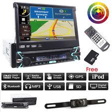 "Autoradio 1Din Stereo 7"" Gps Navigatore Bluetooth Usb Aux Sd Dvd Cd Motorizzato"