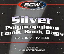 200 Bcw Silver Comic Bags Protective Sleeves New Poly Bags