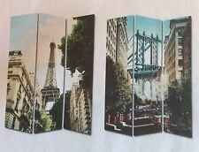 Separe' Paravento Divisorio In Legno E Tela Raffigura Parigi e New York