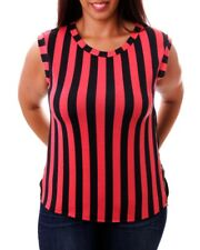 T19 New Womens Size 14/16 Black/Coral Striped Summer Beach Party Tops Blouse