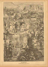 St. John The Baptist Day Celebration, Children Dance, 1882 German Antique Print