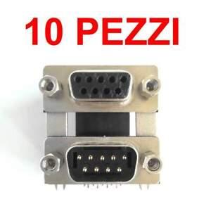 10 pezzi Connettore DB9 9pin maschio femmina da circuito stampato