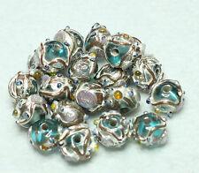 20 Indian Fancy Lampwork Perles en verre 8 mm Rond Bleu Clair (BBB613)