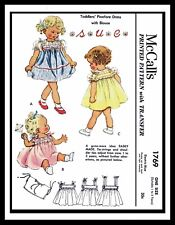 McCall's 1769 Sewing Pattern Girl's Pinafore NAME Dress Frock Toddler ~1 SIZE~