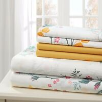 SHEET SET FULL 6 PIECE COTTON PERCALE PRINT SOFT DEEP POCKET  FREE WASH CLOTH