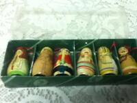 Vintage, 6-pc Santa and Angels Authentic Models Christmas Ornaments in Orig. Box
