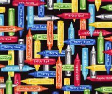 Fat Quarter Art Class Crayons 100% Cotton Quilting Fabric Benartex