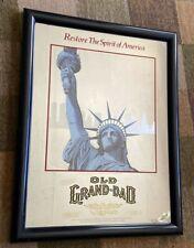Bar Mirror Old Grand-Dad Kentucky Bourbon Whiskey 22 X 17 Man Cave Lady Liberty