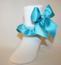 Girls White Cotton Nylon Socks with Turquoise Satin Ribbon and Bows Bailey