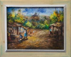 "Lois Mailou Jones  (1905 - 1998) Haiti/DC Artist Oil ""Life In Haiti"""