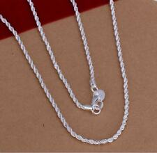 Silver plated 2MM Twisted rope style Chain Necklace Men and Women