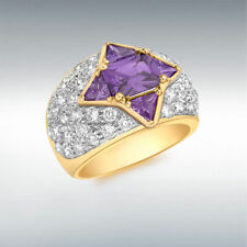 Yellow Gold Plated Amethyst Cluster Costume Rings