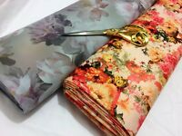 *NEW*Stretch Poly Viscose Jersey Floral 5 Dress/Craft/Curtain Fabric*FREE P&P*