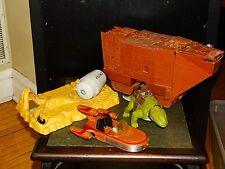 Vintage Star Wars Tatooine Lot JAWA SANDCRAWLER, DEWBACK, LANDSPEEDER Original