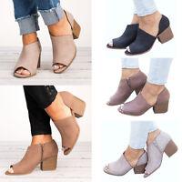 Womens Block Mid Low Heel Shoes Peep Toe Mule Ankle Boots Slip On Casual Booties