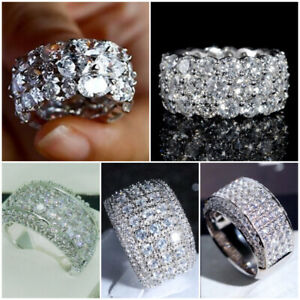 5 Style Gorgeous Cubic Zirconia Rings  Silver Women Jewelry Gifts Size 6-10