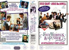 FOUR WEDDINGS AND A FUNERAL - VHS -PAL -NEW -Never played! - Original Oz release