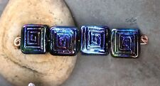 Peacock Labyrinth - Handmade Glass Lampwork Square Tile Beads - MTO made to ordr