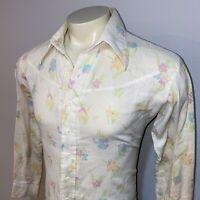 Vtg 60s 70s MONTECARLO Shirt Woodstock Hippie Disco Cowboy Floral Mod MENS LARGE