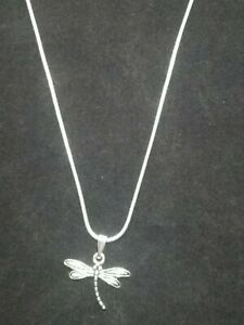 Dragonfly Necklace Pendant on Sterling Silver Chain