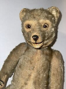 """Super Old 17"""" Teddy Bear Jointed body Mohair Molded Face Neat!"""