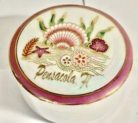 Vintage Pensacola Florida Ceramic Souvenir Purple Container Beach Seashells