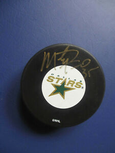 Marty Turco Dallas Stars Signed NHL hockey puck autographed