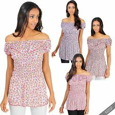Polyester Boat Neck Floral Tops & Shirts for Women