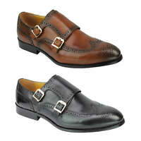 Mens Vintage Black Brown Real Leather Brogue Monk Shoes Smart Formal Slip on