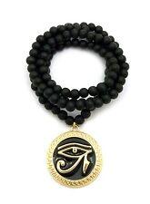 "Gold Black Egypt Eye of Heru Pendant 30"", 36"" Various Chain Hip Hop Necklace"