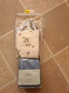 Next tights x 2 pairs Light Blue & White Floral 5-6 years Brand New