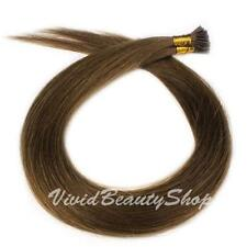 100 I Stick Tip Pre Bonded Straight Remy Human Hair Extensions Medium Brown #4