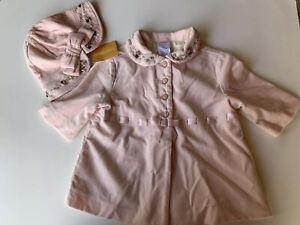Gymboree Baby Girl's Velvety/Velour Pink Coat & Hat Floral Applique 3-6 m Easter