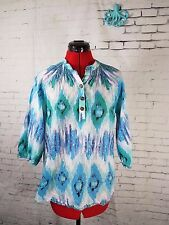 Liza Byrd boutique 3/4 sleeve top tunic ikat blue green white size small preppy