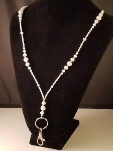 White & Silver~Handmade Lanyard, Badge, ID Holder, Keychain