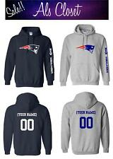 New England Patriots Logo Football Pullover Hooded Sweatshirt with Custom Name