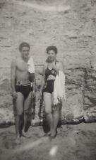 #40998 Greece 1940s. Couple with swimsuit. Photo PC size RPPC