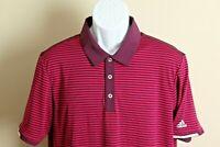 Adidas ClimaChill Men's plum and fuchsia striped short sleeve Golf polo shirt M