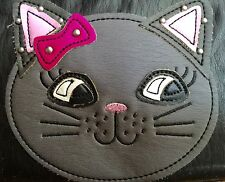 MUDD Angie Collection Zip-Around Wristlet Wallet BLACK & PINK KITTY  New!